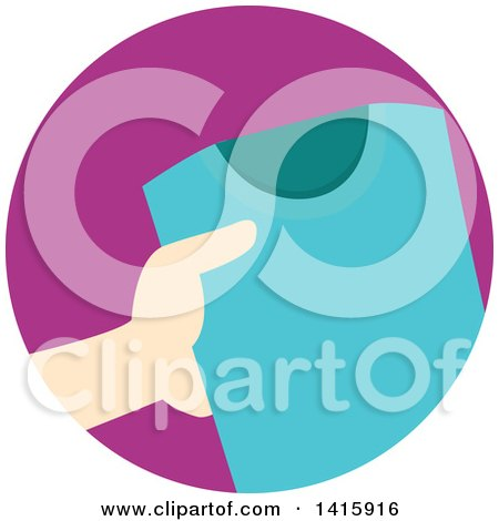 Clipart of a Round Icon of a Hand Donating Clothing - Royalty Free Vector Illustration by BNP Design Studio