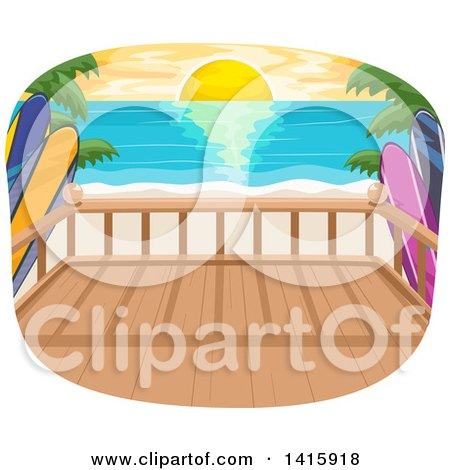 Clipart of a Beach House Balcony over an Ocean Sunset - Royalty Free Vector Illustration by BNP Design Studio