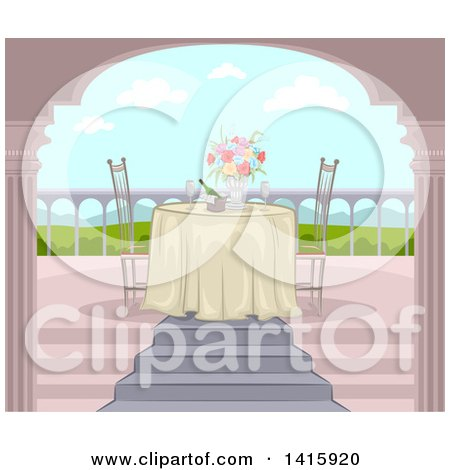 Clipart of a Romantic Table Set for Two on a Balcony with a Valley View - Royalty Free Vector Illustration by BNP Design Studio
