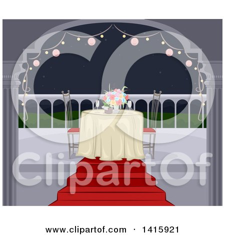 Clipart of a Romantic Table Set for Two on a Balcony at Night - Royalty Free Vector Illustration by BNP Design Studio