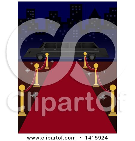 Clipart of a Red Carpet Leading to a Limo in a City - Royalty Free Vector Illustration by BNP Design Studio