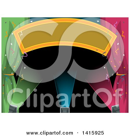 Clipart of a Blank Banner with Colorful Curtains and Stage Lights - Royalty Free Vector Illustration by BNP Design Studio