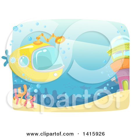Clipart of a Yellow Submarine near a Tower Underwater - Royalty Free Vector Illustration by BNP Design Studio
