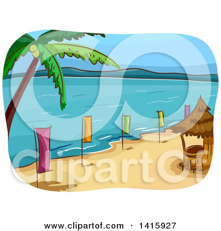 Clipart of a Sketched Beach with a Bar Hut, Palm Tree and Colorful Banners - Royalty Free Vector Illustration by BNP Design Studio