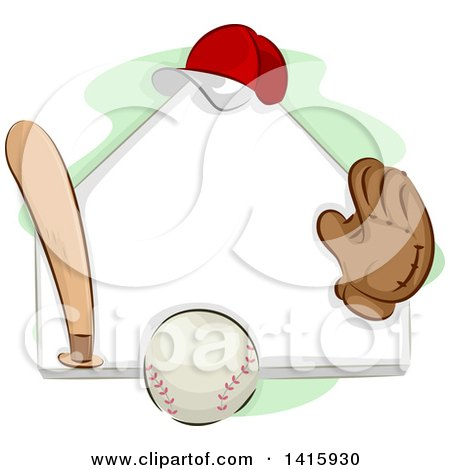 Clipart of a Sketched Baseball Plate, Ball, Bat, Glove and Hat - Royalty Free Vector Illustration by BNP Design Studio