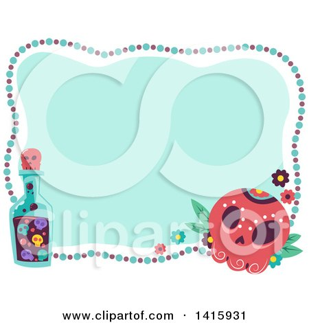 Clipart of a Day of the Dead Sugar Skull, Bead and Bottle Frame - Royalty Free Vector Illustration by BNP Design Studio