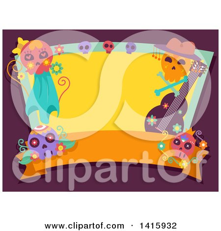 Clipart of a Day of the Dead Frame with a Blank Banner, Guitar and Sugar Skulls on Purple - Royalty Free Vector Illustration by BNP Design Studio