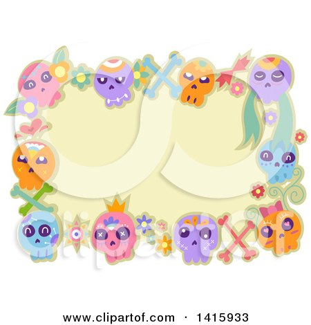 Clipart of a Border of Colorful Sugar Skulls and Flowers - Royalty Free Vector Illustration by BNP Design Studio