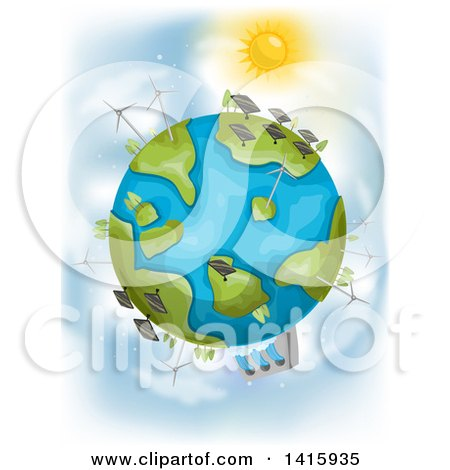 Clipart of a Sun Shining down on Planet Earth with Different Renewable Energy Plants - Royalty Free Vector Illustration by BNP Design Studio