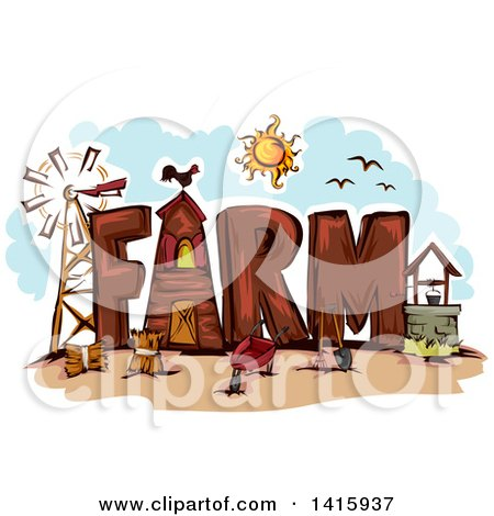 Clipart of the Word Farm - Royalty Free Vector Illustration by BNP Design Studio