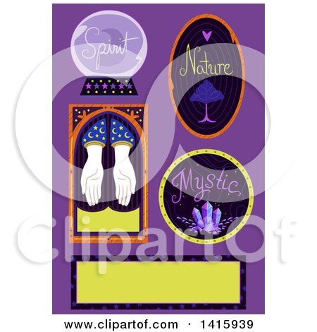 Clipart of Gypsy Icons over Purple - Royalty Free Vector Illustration by BNP Design Studio