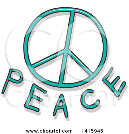 Clipart of a Peace Symbol and Text - Royalty Free Vector Illustration by BNP Design Studio
