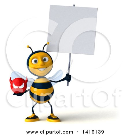 Clipart of a 3d Male Bee on a White Background - Royalty Free Illustration by Julos