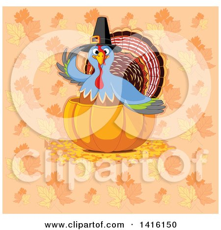 Clipart of a Thanksgiving Turkey Bird Pilgrim in a Pumpkin over a Background of Fall Leaves - Royalty Free Vector Illustration by Pushkin