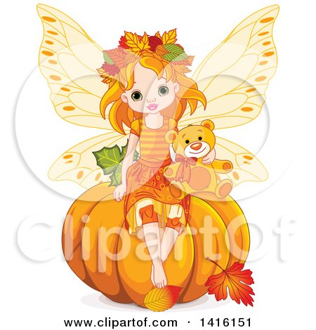Clipart of a Cute Red Haired Fairy Girl Sitting with a Teddy Bear on Top of a Halloween, Thanksgiving or Autumn Pumpkin - Royalty Free Vector Illustration by Pushkin