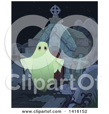 Clipart of a Spooky Ghost Outside a Tomb in a Cemetery - Royalty Free Vector Illustration by Pushkin