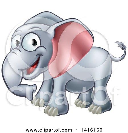Clipart of a Cartoon Happy Elephant - Royalty Free Vector Illustration by AtStockIllustration
