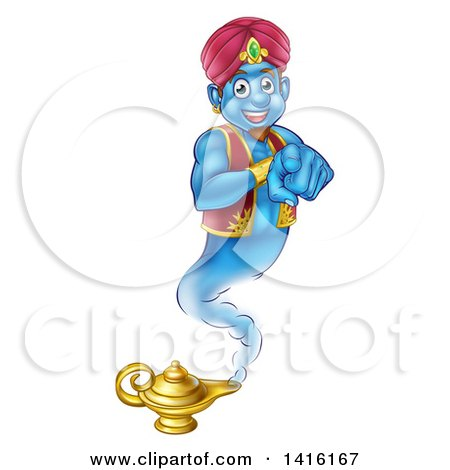 Clipart of a Friendly Blue Genie Emerging from His Lamp and Pointing at You - Royalty Free Vector Illustration by AtStockIllustration