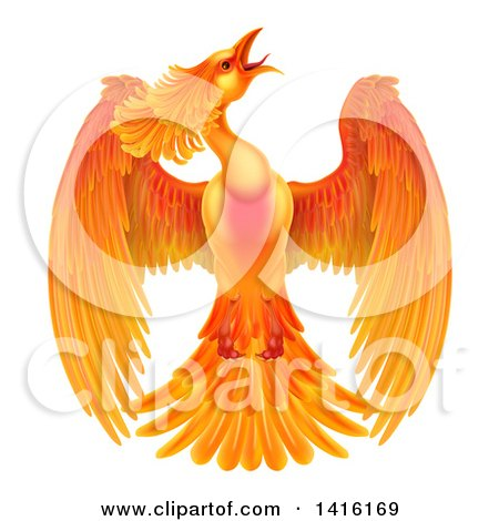 Clipart Of A Flying Fiery Phoenix Bird Royalty Free Vector Illustration