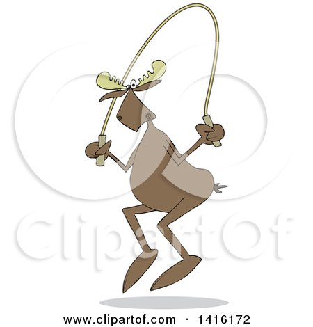 Clipart of a Cartoon Moose Exercising with a Jump Rope - Royalty Free Vector Illustration by djart