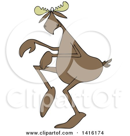 Clipart of a Cartoon Moose Sneaking Around - Royalty Free Vector Illustration by djart