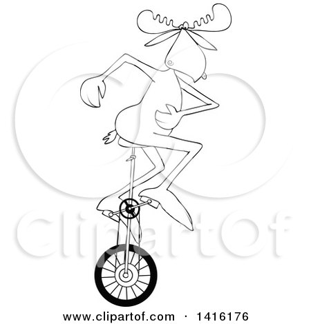 Clipart of a Cartoon Black and White Lineart Moose Riding a Unicycle - Royalty Free Vector Illustration by djart
