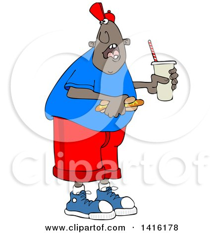 Clipart of a Cartoon African American Man Shouting over His Shoulder and Holding a Fountain Soda and Hot Dog - Royalty Free Vector Illustration by djart