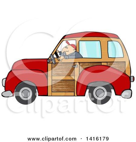 Cartoon Caucasian Man Driving a Red Woody Car Posters, Art Prints