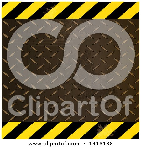 Clipart of a Hazard Stripes and Diamond Plate Metal Background - Royalty Free Vector Illustration by elaineitalia