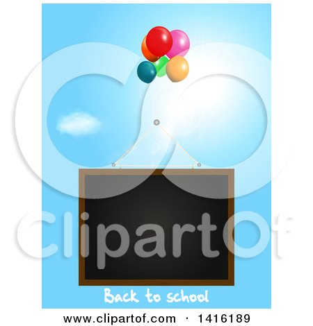 Clipart of a Black Board with Back to School Text and Party Balloons Floating in the Sky - Royalty Free Vector Illustration by elaineitalia