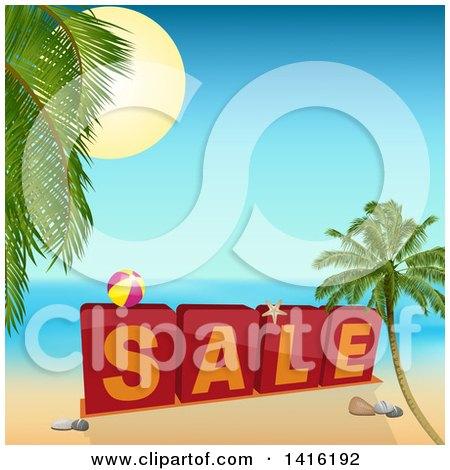 Clipart of 3d Sale Blocks with a Ball on a Tropical Beach - Royalty Free Vector Illustration by elaineitalia