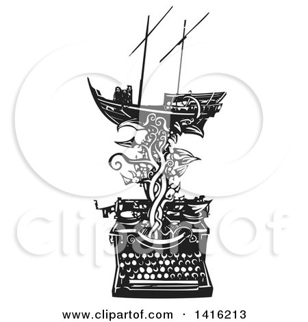 Black and White Woodcut Arab Dhow Boat on a Vine Emerging from a Typewriter Posters, Art Prints