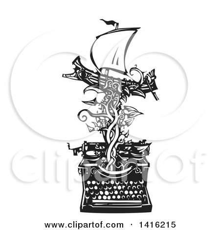 Black and White Woodcut Greek Warship on a Vine Emerging from a Typewriter Posters, Art Prints