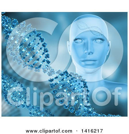 Clipart of a 3d Female Human Head with Dna Strands in Blue Tones - Royalty Free Illustration by KJ Pargeter