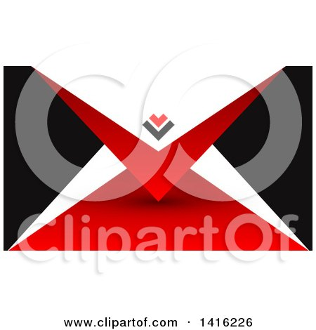 Clipart of a Red Black and White Business Card Design or Website Background - Royalty Free Vector Illustration by KJ Pargeter