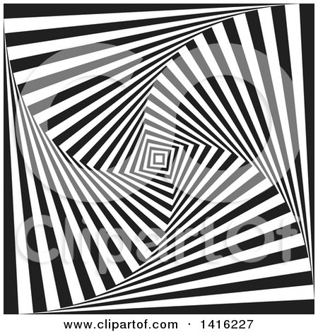 Clipart of a Black and White Optical Illusion Tunne Vortex Background - Royalty Free Vector Illustration by KJ Pargeter