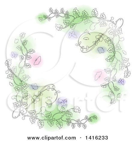 Clipart of Sketched Floral Vines with Butterflies and Pink, Purple and Green Spots, Forming a White Cross Shape - Royalty Free Vector Illustration by KJ Pargeter