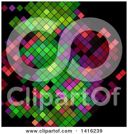 Clipart of a Colorful Abstract Mosaic Design on Black - Royalty Free Vector Illustration by KJ Pargeter