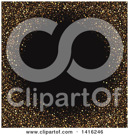 Clipart of a Gold Glitter Frame Background with Black Text Space - Royalty Free Vector Illustration by KJ Pargeter