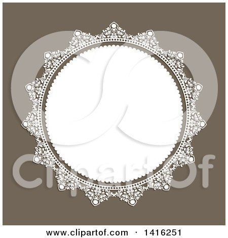 Clipart of a Wedding Invitation Background of a Round White Floral Frame over Brown - Royalty Free Vector Illustration by KJ Pargeter