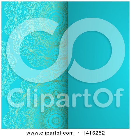 Clipart of a Wedding Invitation Background with an Ormate Golden Panel and Blue Panel - Royalty Free Vector Illustration by KJ Pargeter