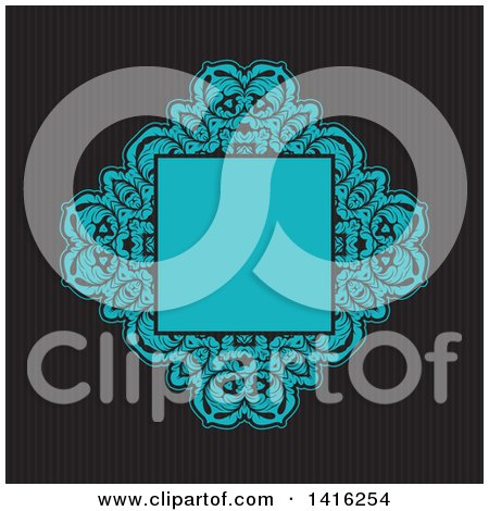 Clipart of a Wedding Invitation Background of a Blue Floral Frame over Dark Stripes - Royalty Free Vector Illustration by KJ Pargeter