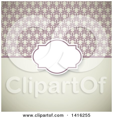 Clipart of a Wedding Invitation Background with a Frame over Floral and Solid Sections - Royalty Free Vector Illustration by KJ Pargeter