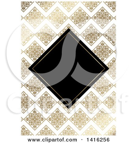 Clipart of a Wedding Invitation Background of a Black Diamond Framed over Golden Floral Tiles and Zig Zags - Royalty Free Vector Illustration by KJ Pargeter