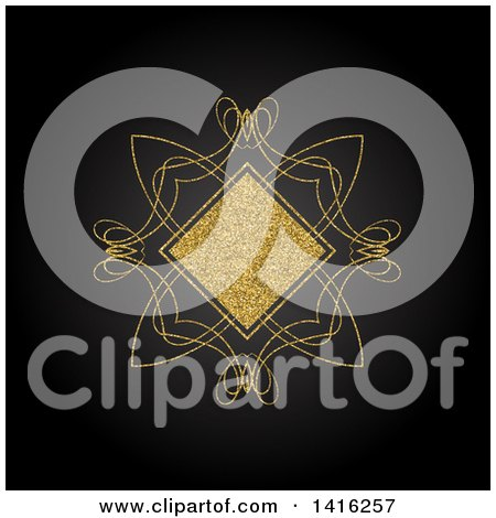 Clipart of a Wedding Invitation Background of a Golden Glitter Diamond and Swirls on Black - Royalty Free Vector Illustration by KJ Pargeter