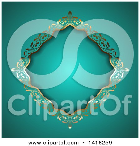 Clipart of a Wedding Invitation Background of an Ornate Floral Golden Diamond Frame on Turquoise - Royalty Free Vector Illustration by KJ Pargeter
