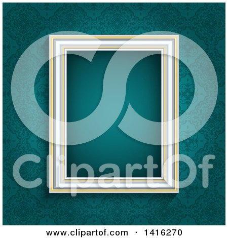 Clipart of a 3d Blank Picture Frame over a Teal Damask Wallpaper Background - Royalty Free Vector Illustration by KJ Pargeter