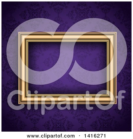 Clipart of a 3d Blank Picture Frame over a Purple Damask Wallpaper Background - Royalty Free Vector Illustration by KJ Pargeter