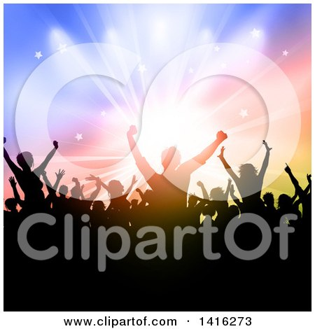 Clipart of a Silhouetted Dancing and Cheering Crowd over Colorful Lights - Royalty Free Vector Illustration by KJ Pargeter
