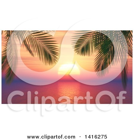 Clipart of a 3d Tropical Ocean Sunset with Palm Trees - Royalty Free Illustration by KJ Pargeter